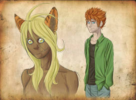 Kaiu and Muna Sketches by CursedCanine