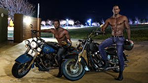 Black twins on motorcycle by sagitarian71