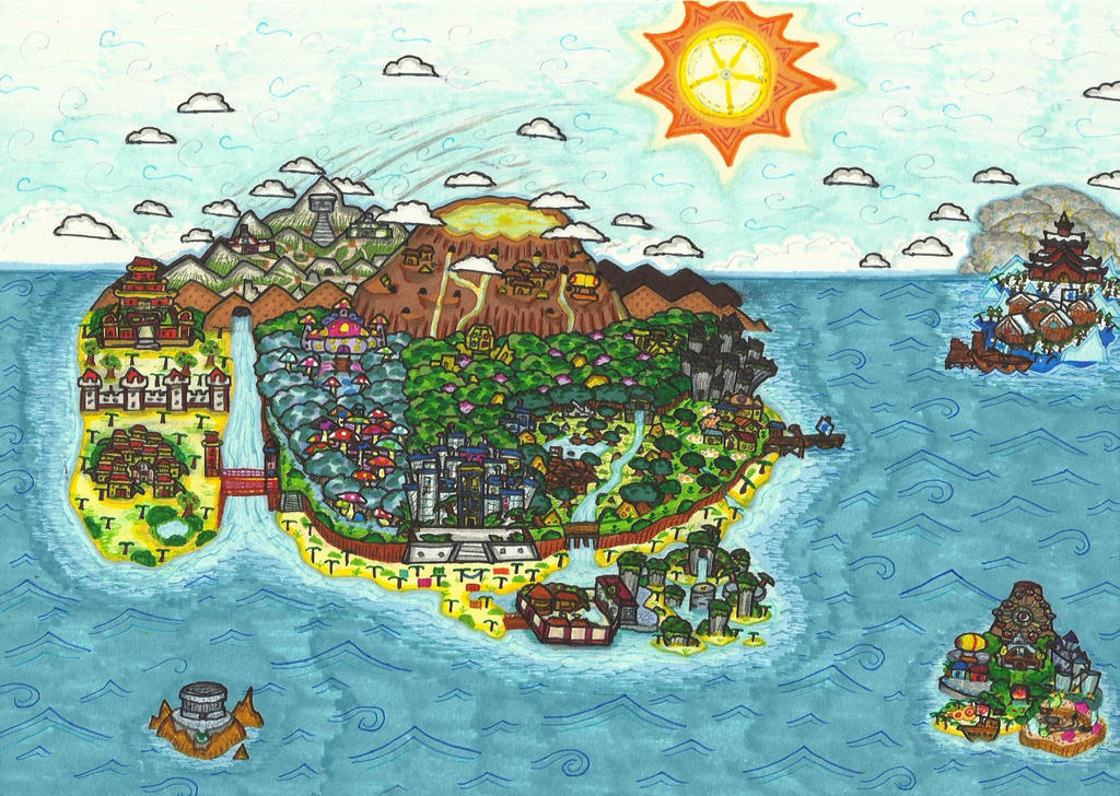 The Ester Isles Paper Mario BOE World Map by ProtoTypedKnife on
