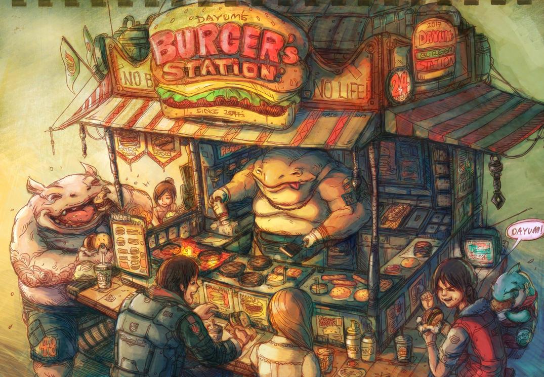 burger stall by Kai-E-soh