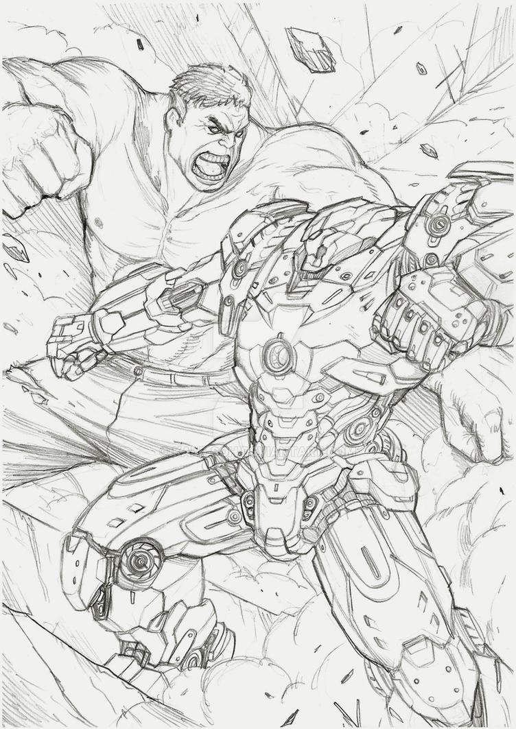 hulk vs hulkbuster by Kai-E-soh