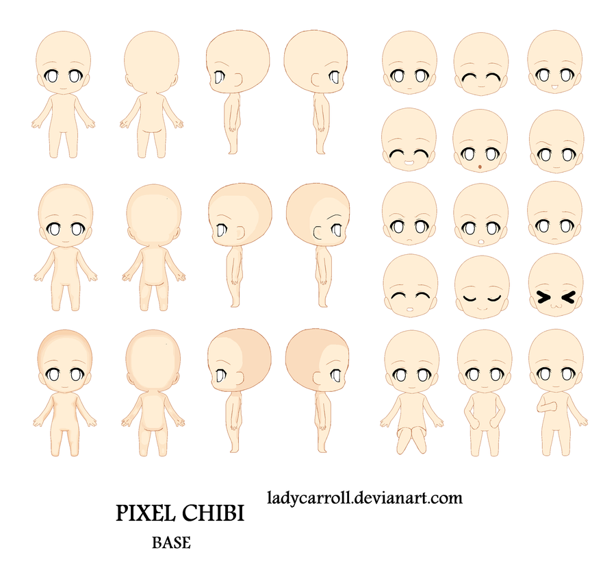 Pixel chibi base color by LadyCarroll