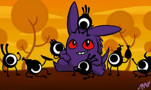 Gengar and Patapons by ShadowInTheDoorframe