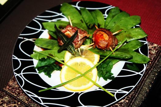 Bacon Wrapped Mushrooms w/Snowpea Salad