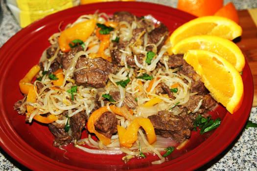 Orange Beef Chow Mein