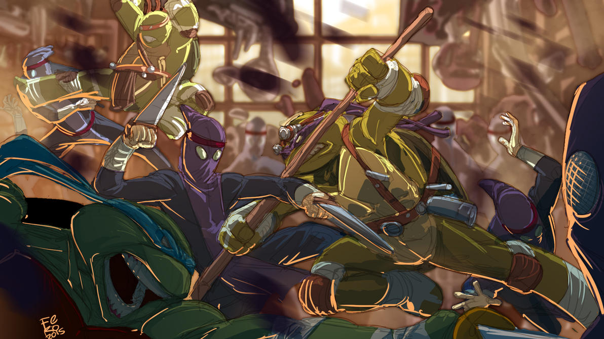 Ninja Turtles antique shop Fight by Fpeniche
