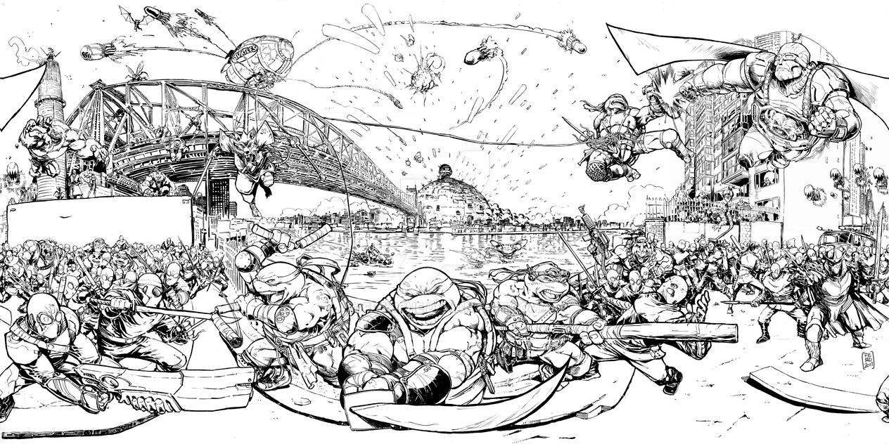 TMNT epic battle by Fpeniche