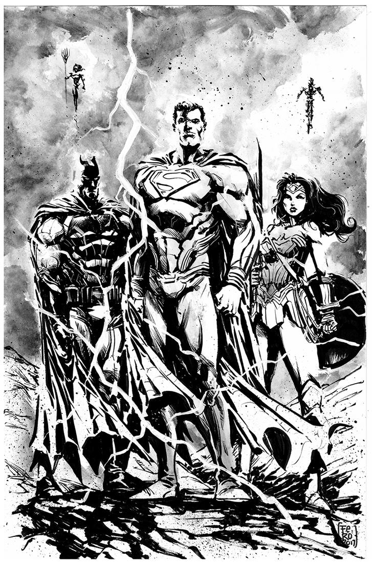 Justice League BW by Fpeniche