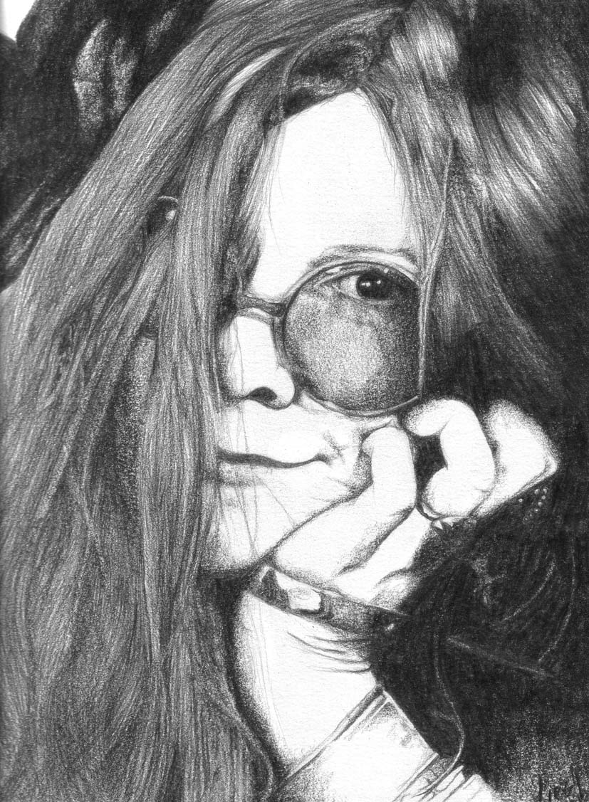 This is an image of Critical Janis Joplin Drawing