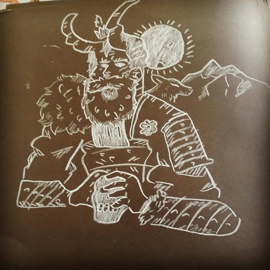 White pencil on black paper practice by BaltazarRiosArt
