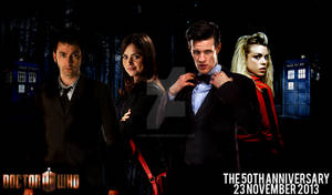 The Doctors and Companions Doctor Who 50th Poster