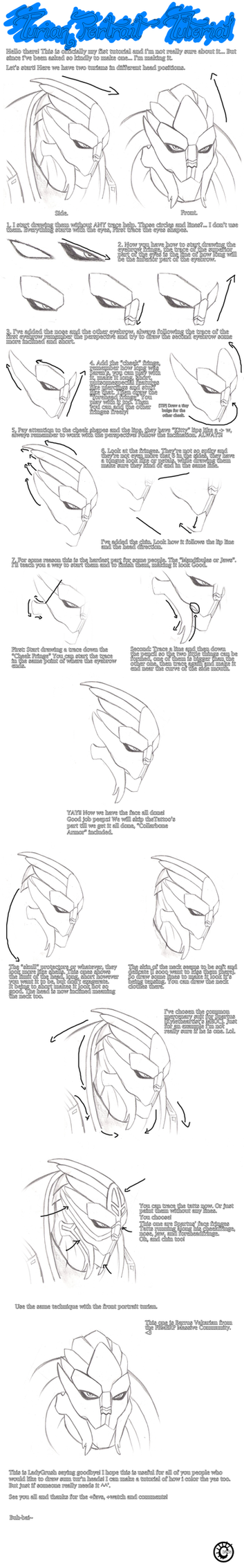 Turian Portrait .:Tutorial:. by Krubbus
