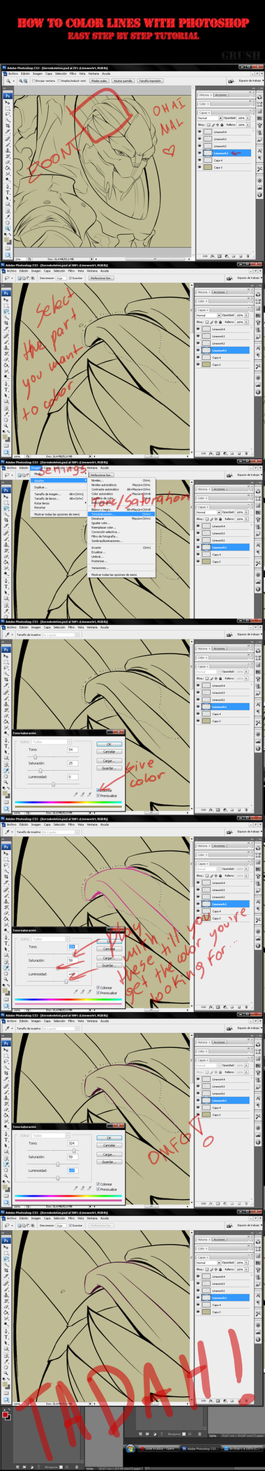 How to color lines - Tutorial by Krubbus