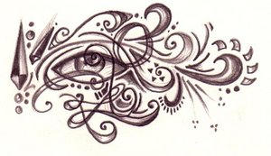 eye and swirls - lianna by tattooflash