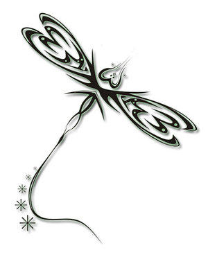 Tribal Dragonfly -2- - dragonfly tattoo