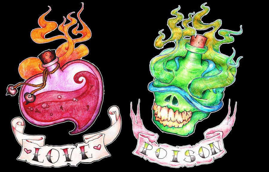Love And Poison Bottles By Tattooflash On Deviantart