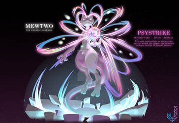 Mewtwo performing Psystrike by ChrisJ-Alejo