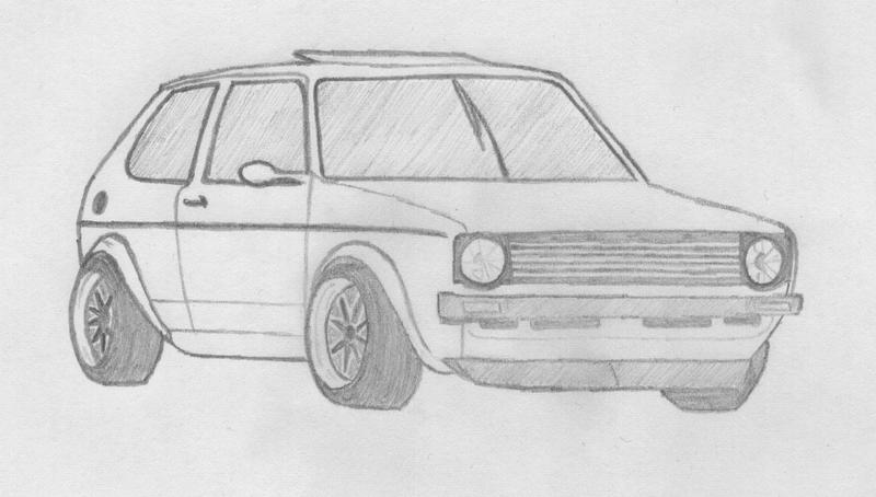 drawing of a mk1 vw golf by mattieprescott