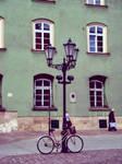 a street lamp and a bike