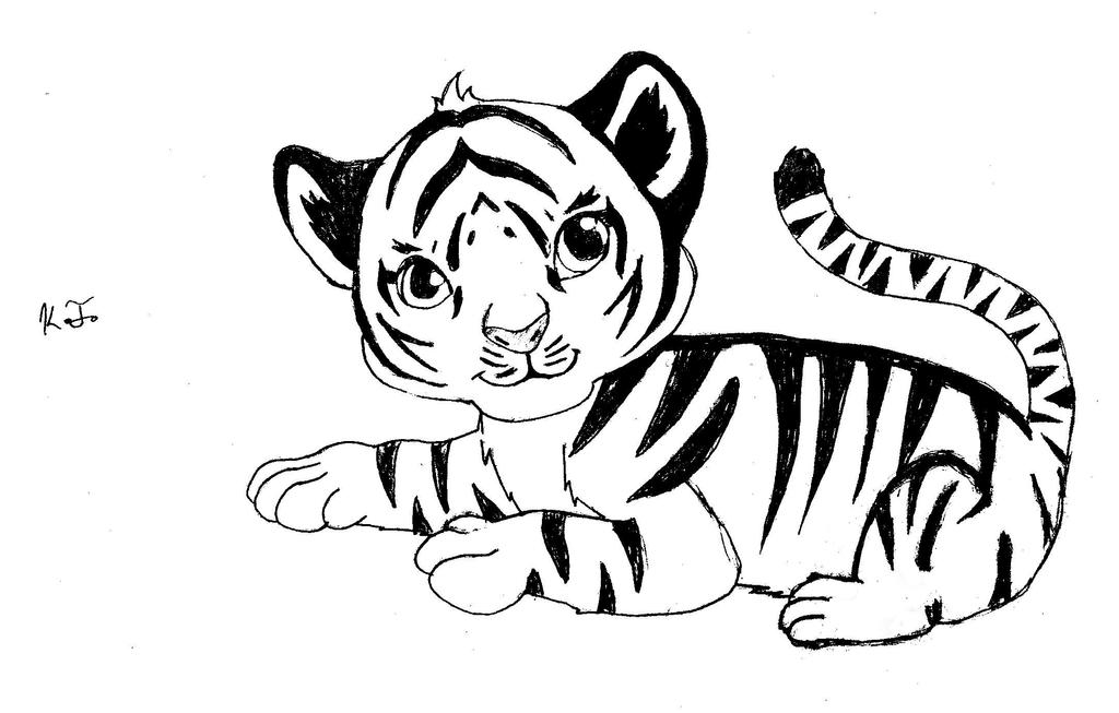 Tiger Line Drawing Easy : Baby tiger by winterangel on deviantart