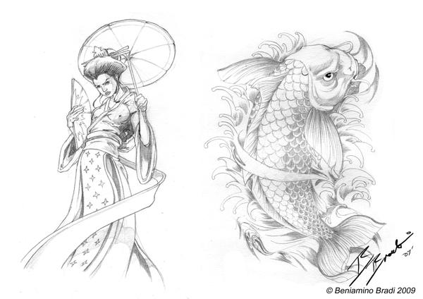 tattoo elements geisha and koi by beniaminobradi on deviantart. Black Bedroom Furniture Sets. Home Design Ideas