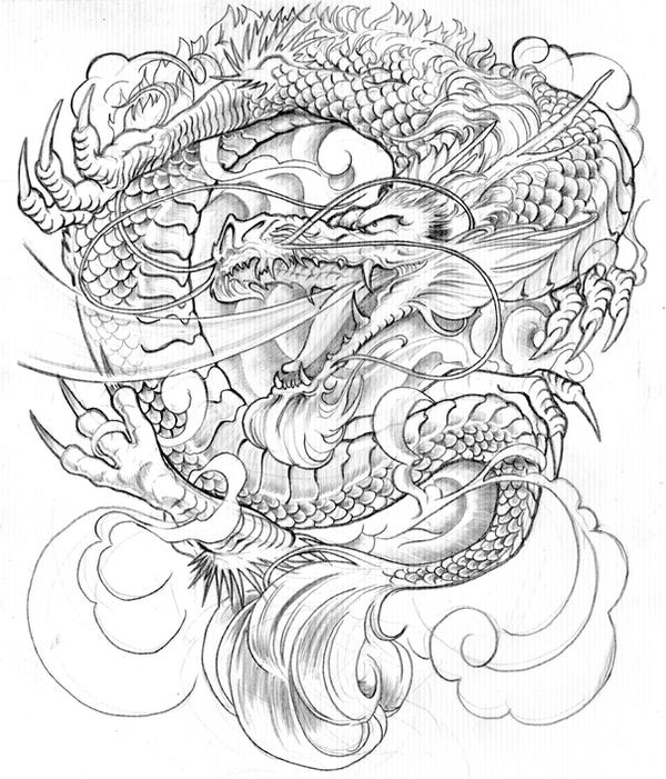 Japanese Dragon Tattoo Designs Drawings