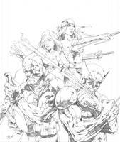 Wolverine and Team Badass by BeniaminoBradi
