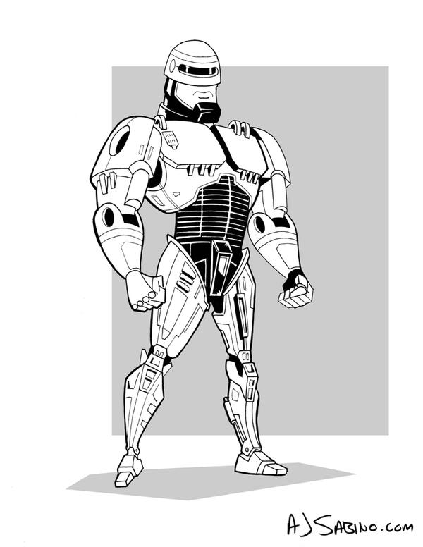 Inktober Day 11 - RoboCop by AJSabino