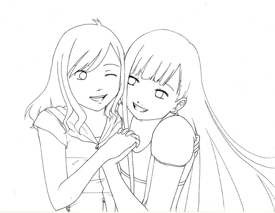 anime friends hugging coloring pages