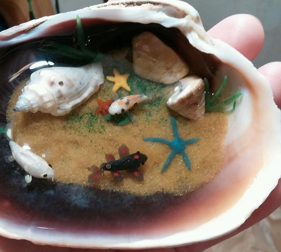 Koi fish pond in a clamshell ornament by shadydarkgirl on for Clay fish pond