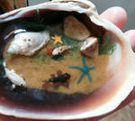 Koi Fish Pond in a Clamshell Ornament