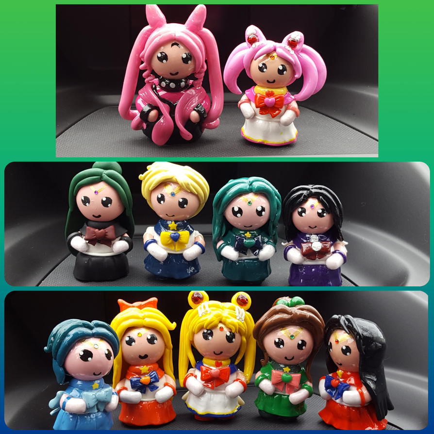 Polymer Clay Sailor Guardians Figurines by ShadyDarkGirl