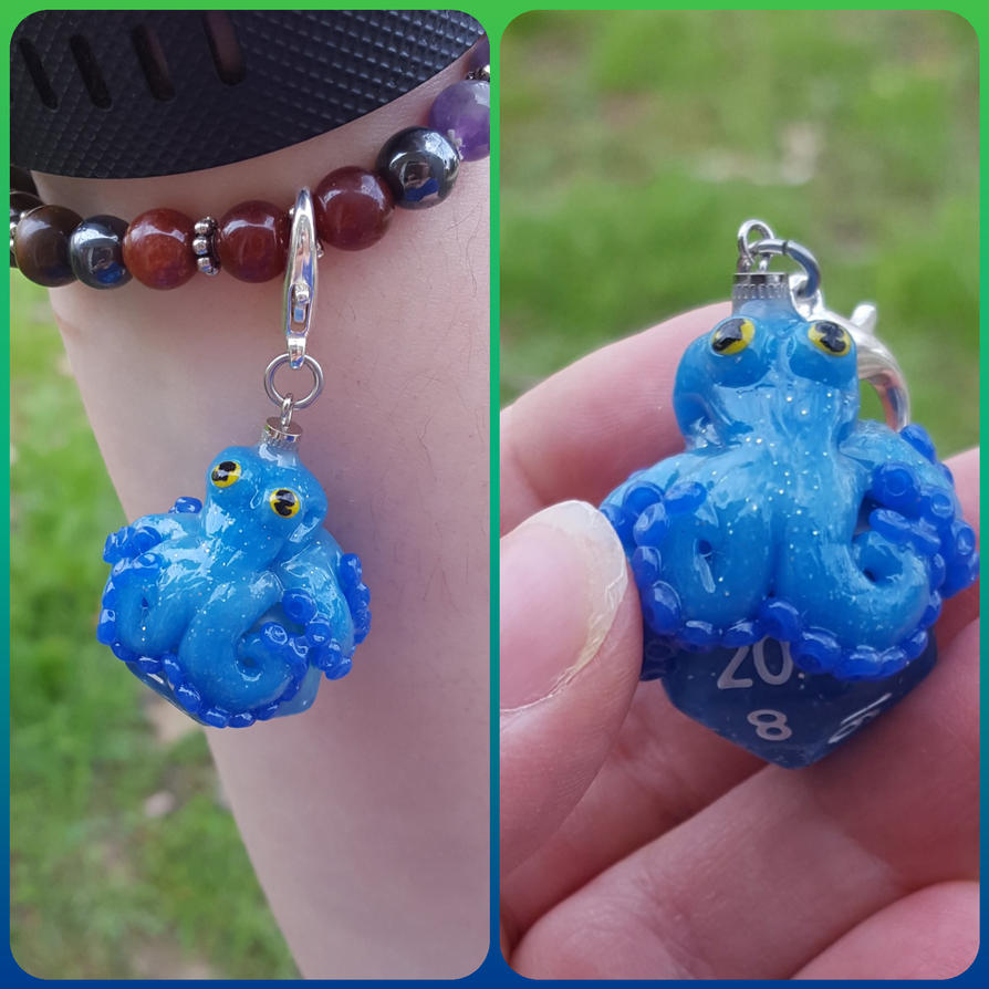 Blue Octopus D20 Charm by ShadyDarkGirl