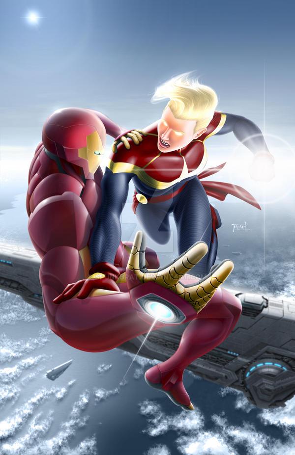 Civil War II - Ironman vs Captain Marvel by spunkbrat