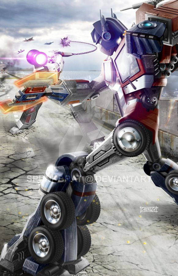 Optimus Prime vs Megatron - Battle At Sherman Dam by spunkbrat