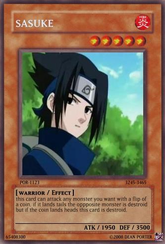 sasuke yu-gi-oh card by deanos1123