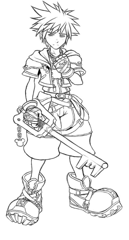 Sora Kingdom Hearts Lineart : Sora lineart by aibryce on deviantart