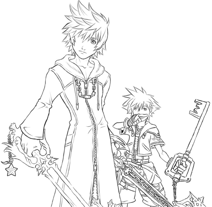 Sora Kingdom Hearts Lineart : Roxas and sora lineart by aibryce on deviantart