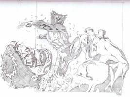 Hulk VS Wolverine sketch by timothygreenII