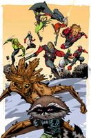 Rocket Raccoon and Groot 4 by timothygreenII