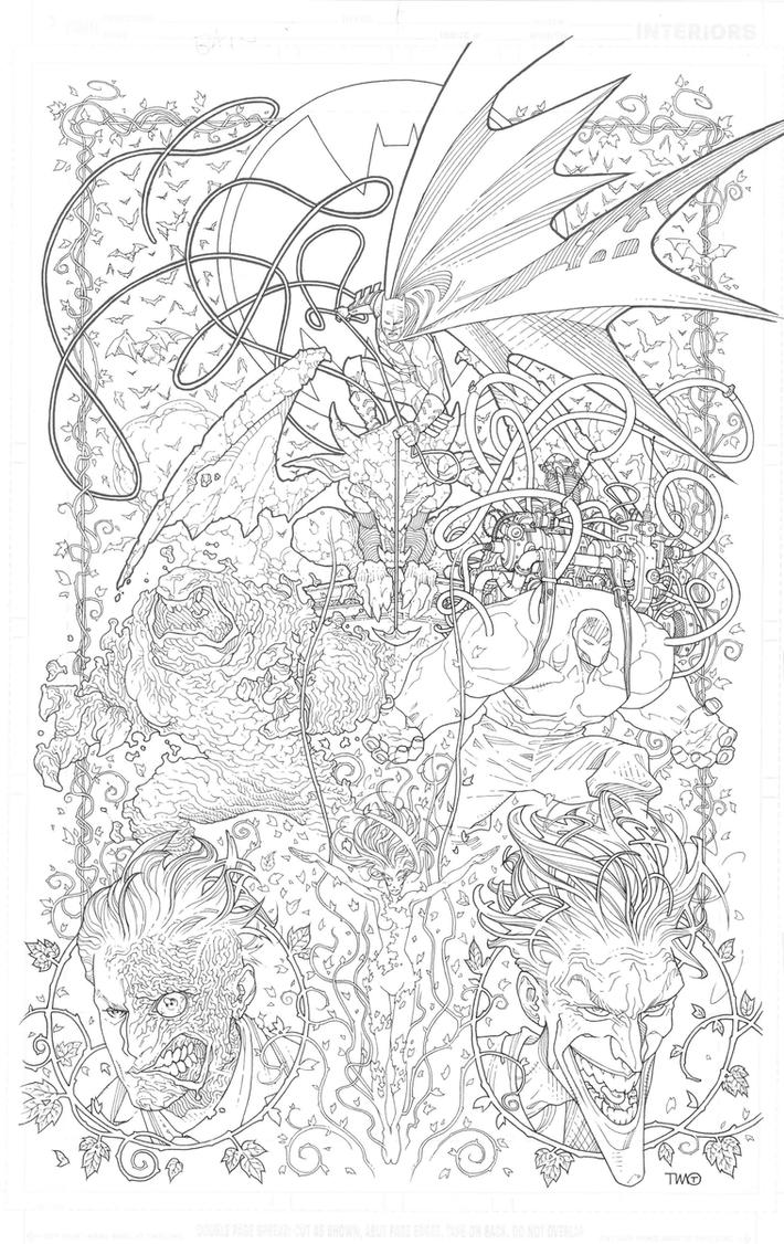 BATMAN Adult Coloring Book Cover By TimothygreenII On