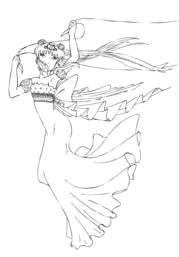 Princess Serenity Coloring Pages : Neo queen serenity lines by mareasol on deviantart