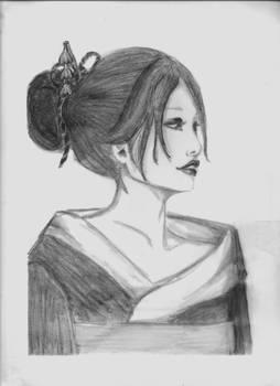 Modern Geisha Traditional Drawing