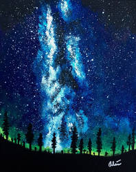 Milky Way/Aurora borealis by StandinOnSound