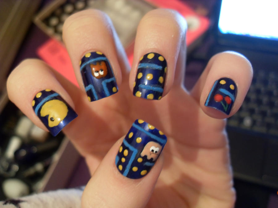 Pac man nails by kate260894 on deviantart pac man nails by kate260894 prinsesfo Image collections