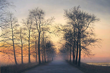 Foggy sunset by sezartstudio