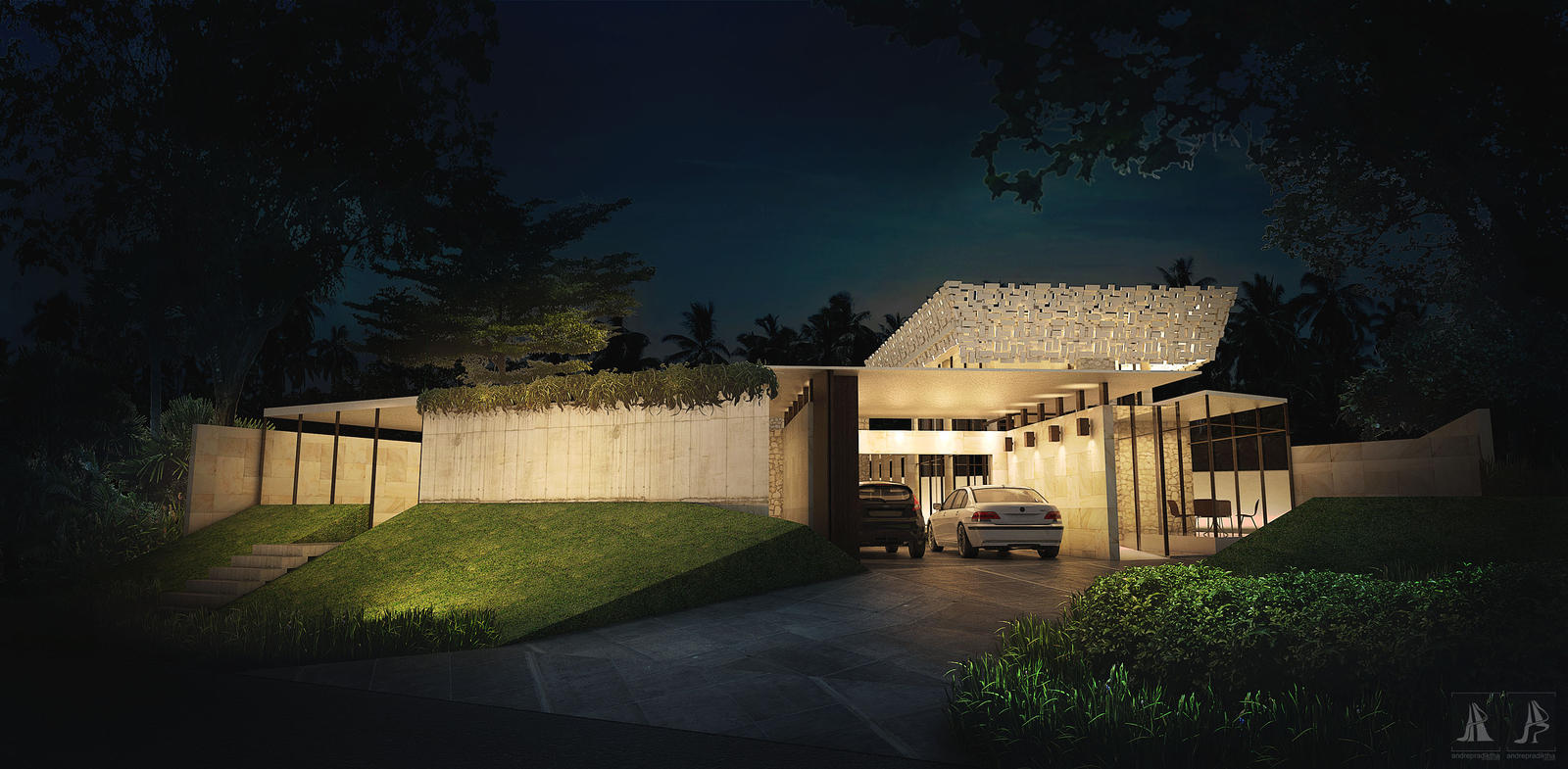 la maison de verre nighttime by air scene on deviantart. Black Bedroom Furniture Sets. Home Design Ideas