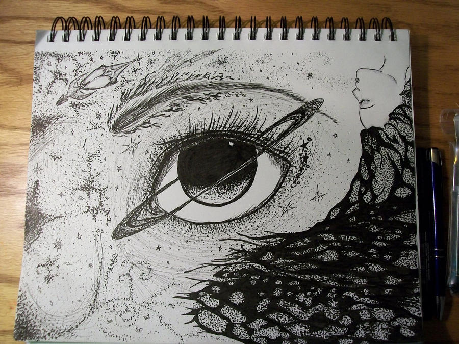 It is a graphic of Peaceful Starry Eyes Drawing