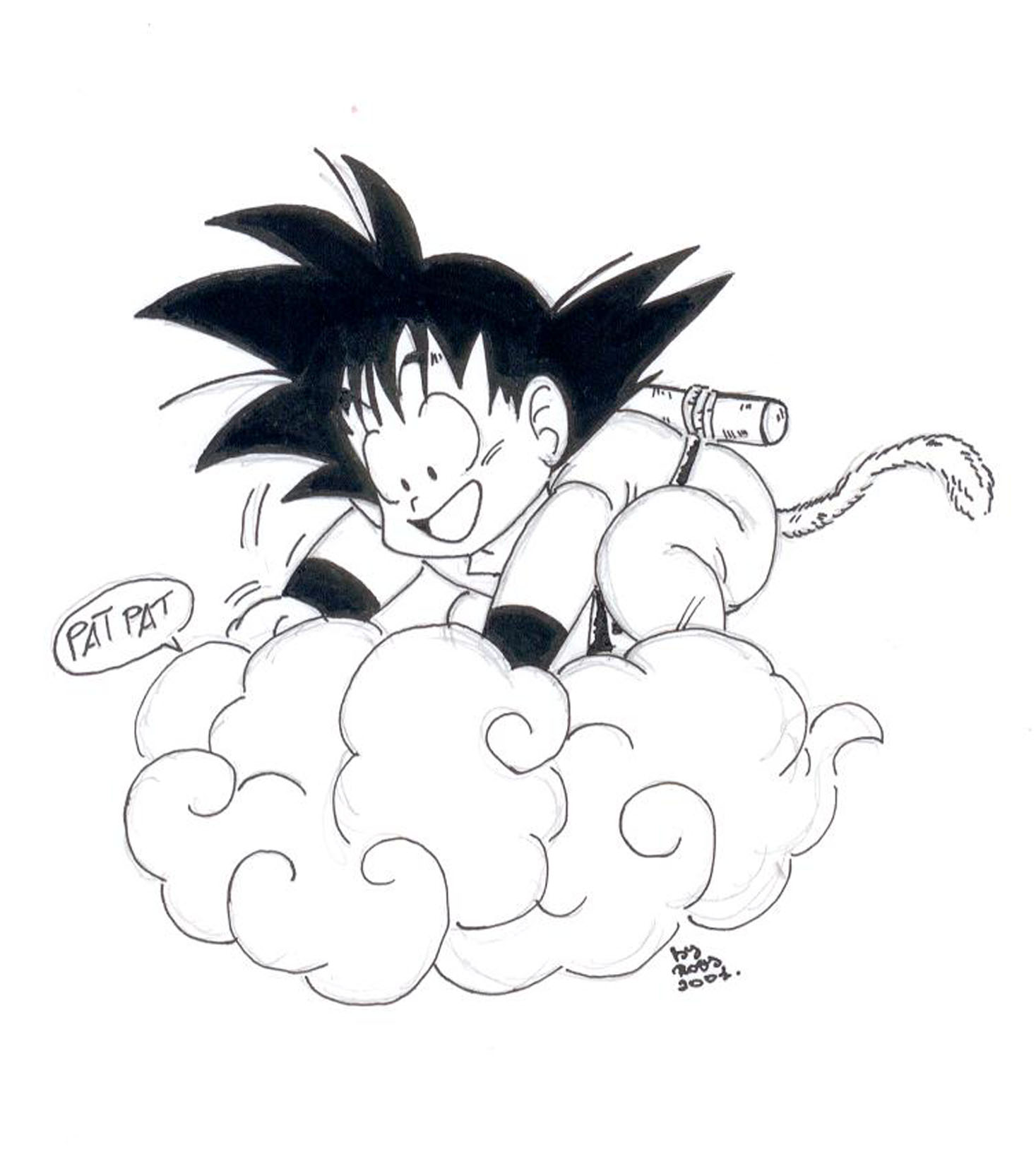 This is a photo of Playful Goku On Nimbus Drawing