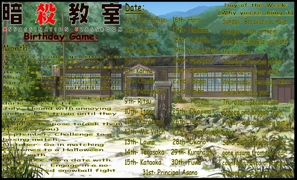 Assassination Classroom Birthday Game by DarkAngelofOtaku